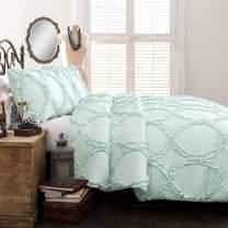 Lush Decor Avon 3 Piece Comforter Set, Full/Queen, Light Aqua