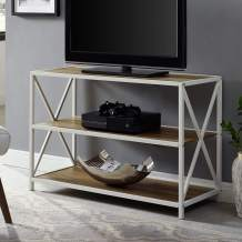Walker Edison Furniture Company 2 Tier Open Shelf Industrial Wood Metal Bookcase Tall Bookshelf Home Office Storage, 40 Inch, Reclaimed Barnwood Brown/White