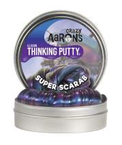 """Crazy Aaron's Thinking Putty 4"""" Tin - Super Illusions Super Scarab - Multi-Color Putty, Soft Texture - Never Dries Out"""