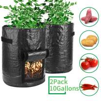 Futone Grow Bags, Potato Planter Bags, Planting PE Aeration Pots with Handles and Flap, Garden Bags for Vegetables, Tomatoes, Carrots, Onions (10 Gallons - 2 Pack - Black)