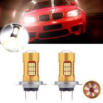 cciyu 2 Pack Xenon White H7 6000K 60W 6000LM Cree LED 54 4014 SMD DRL Daytime Runnig Light (H7 54SMD White)