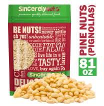 Sincerely Nuts Pine Nuts /Pignolias | 5 Lb. Bag | Delicious Gourmet Choice | Healthy Snack Food | Gluten Free, Kosher, Vegan | Fresh Shelled Pignoli | Paleo & Keto Diet Friendly | Great for Pesto