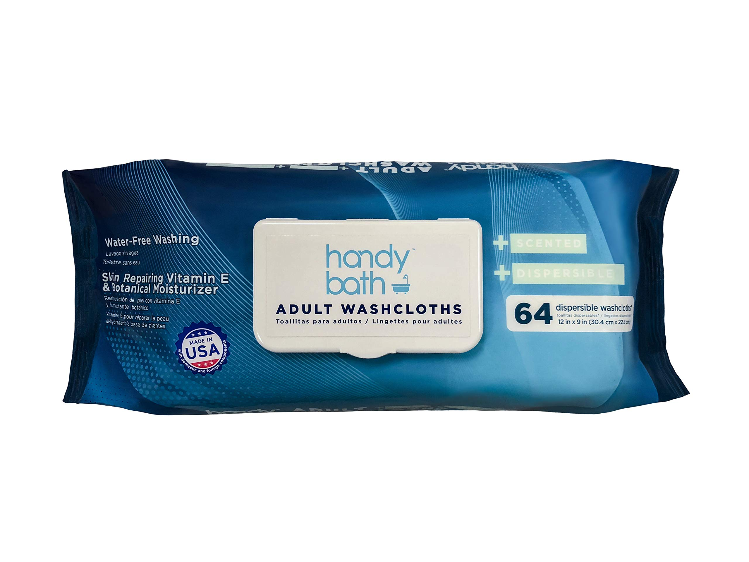 """Handybath Incontinence Flushable Adult Washcloths 100% Biodegradable with Fresh Scent- Extra Large 12 x 9"""" Towels - Personal Cleaning Wipes with Aloe & Chamomile - Rinse Free & Flushable - 64 ct Pack"""