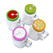 4 x 20oz Mason Jar Mugs with Handles, Lids, Reusable Straws, Fruit Patterned Stainless Steel Lids and Straws, Glass Drinking Cup Regular Mouth, BPA Free, Food Grade, Dishwasher Safe, 23 Bees