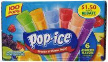Pop-Ice Freezer Pops, Fat Free Ice Pops, Assorted Flavors (100 - 1 oz pops)