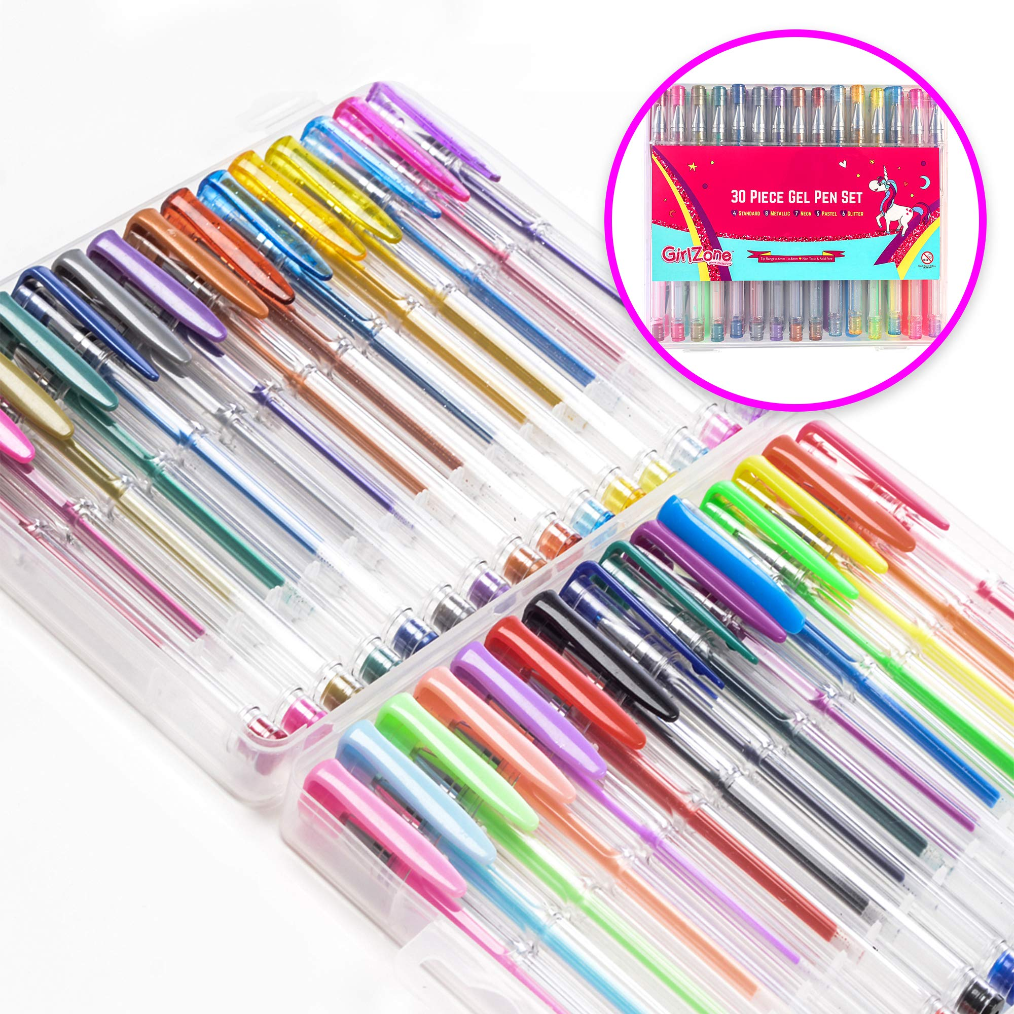 GirlZone: Colored Gel Pens Set for Girls, Ideal Arts and Crafts Kit, Great Gifts For Girls