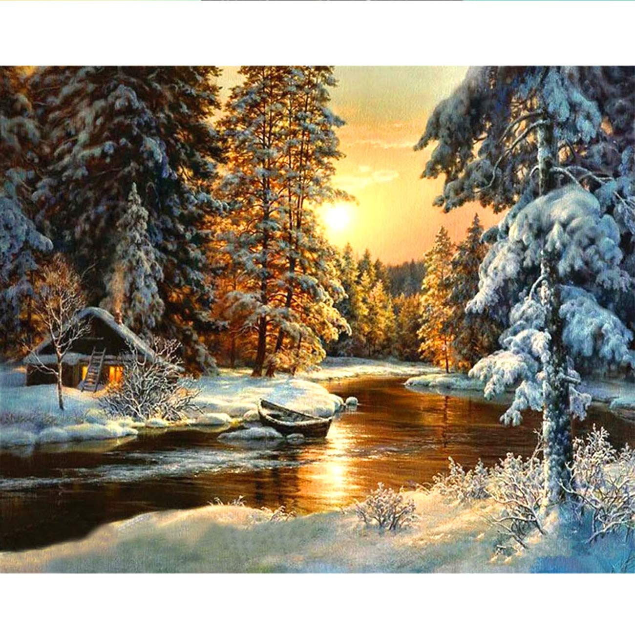 5D Diamond Painting Sunset Forest Cottage in Winter Full Drill by Number, SKRYUIE DIY Rhinestone Pasted Paint with Diamond Set Arts Craft Decorations (10x14inch)