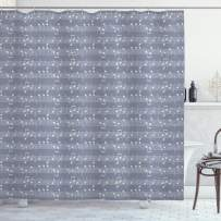 """Ambesonne Grey Shower Curtain, Piano Music Clay Motif with Various Notes Beats Melody Rhythm Harmony Jazz, Cloth Fabric Bathroom Decor Set with Hooks, 70"""" Long, Pale Lavender"""