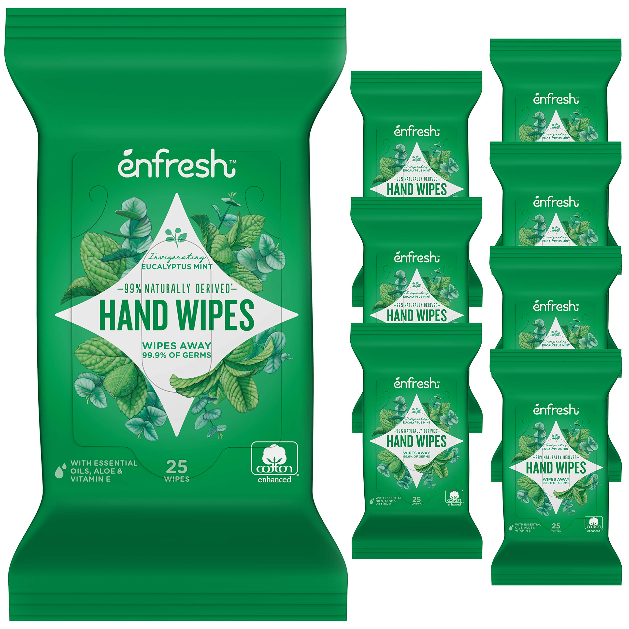 Invigorating Eucalyptus Mint Naturally Derived Hand Wipes by Enfresh - Wipes Away 99.9% of Germs – 25 Count (Pack of 8, 200 Wet Wipes)