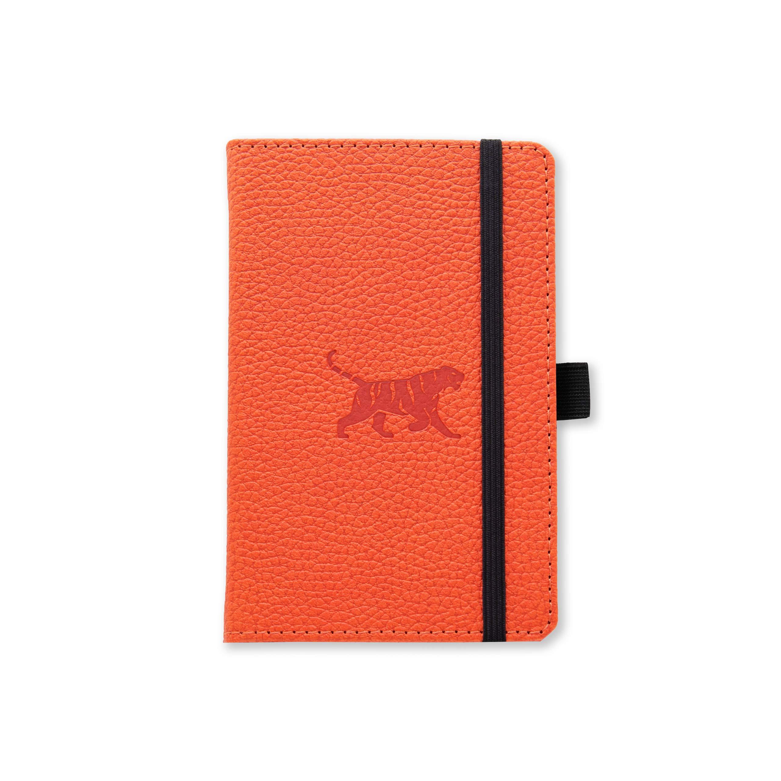 Dingbats Wildlife Dotted Pocket A6 Hardcover Notebook - PU Leather, Perforated 100gsm Ink-Proof Paper, Pocket, Elastic Closure, Pen Holder, Bookmark (Orange Tiger)