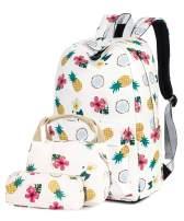 H HIKKER-LINK School Backpack Set Laptop & Lunch & Pencil Bag 3pcs Medium Beige