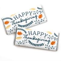 Big Dot of Happiness Happy Thanksgiving - Candy Bar Wrapper Fall Harvest Party Favors - Set of 24