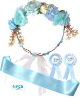 Baby Shower Decoration for Boy, Mother To Be Flower Crown Blue, Baby Shower fro Boy, Growing a Prince Sash and Mom to be Pin, Dad To Be Pin, Blue Baby Shower Party Favors Decorations Gift for Boy