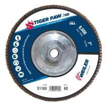 "Weiler 51169 Tiger Paw XHD Super High Density Abrasive Flap Disc, Type 27 Flat Style, Phenolic Backing, Zirconia Alumina, 7"" Diameter, 5/8""-11 Arbor, 60 Grit, 8600 RPM (Pack of 10)"