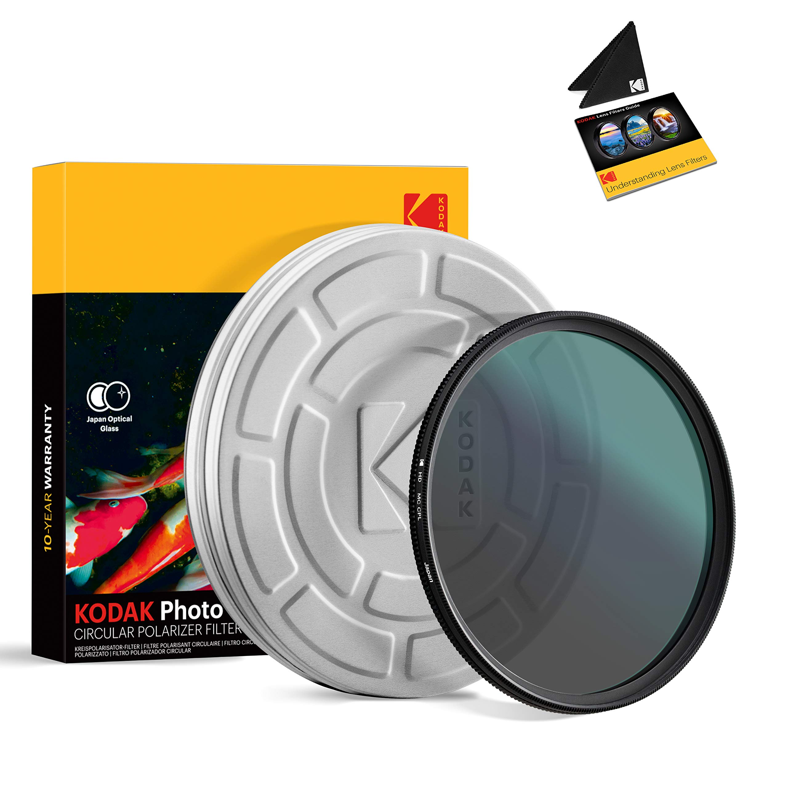 KODAK 72mm CPL Lens Filter   Circular Polarizing Filter Removes Reflections from Glass & Water, Enhances Contrast Improves Color Saturation, Super Slim, Multi-Coated 12-Layer Nano Glass & Mini Guide