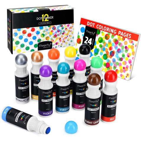 Washable Dot Markers, Magicfly 12 Colors Bingo Daubers with Free Dot Coloring Book for Kids, Non-Toxic Water-Based Dab Marker for Toddlers, Dauber Marker & Preschool