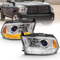 AmeriLite Projector Headlights for 2009-2018 Dodge Ram 1500 2500 3500 w/LED Tube Switchback White & Amber Parking Turn Signal - Passenger and Driver Side