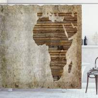 """Ambesonne African Shower Curtain, Geography Theme Grunge Vintage Wooden Plank and Map Digital Print, Cloth Fabric Bathroom Decor Set with Hooks, 75"""" Long, Tan Umber"""