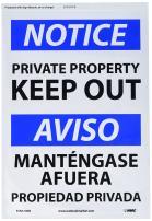 "NMC ESN374PB Bilingual OSHA Sign, Legend ""NOTICE - PRIVATE PROPERTY KEEP OUT"", 14"" Length x 10"" Height, Pressure Sensitive Adhesive Vinyl, Black/Blue on White"