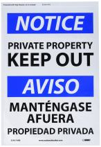 "NMC ESN374PB Bilingual OSHA Sign, Legend ""NOTICE - PRIVATE PROPERTY KEEP OUT"", 14"" Length x 10"" Height, Pressure Sensitive Adhesive Vinyl, Black/Blue on White"