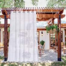 NICETOWN Outdoor Patio Sheer Curtain Room Divider Waterproof, Outdoor Sheer with Rustproof Grommet Lightweight Elegant Panle Balance Light and Privacy for Pergola, W84 x L108, White, 1 Panel