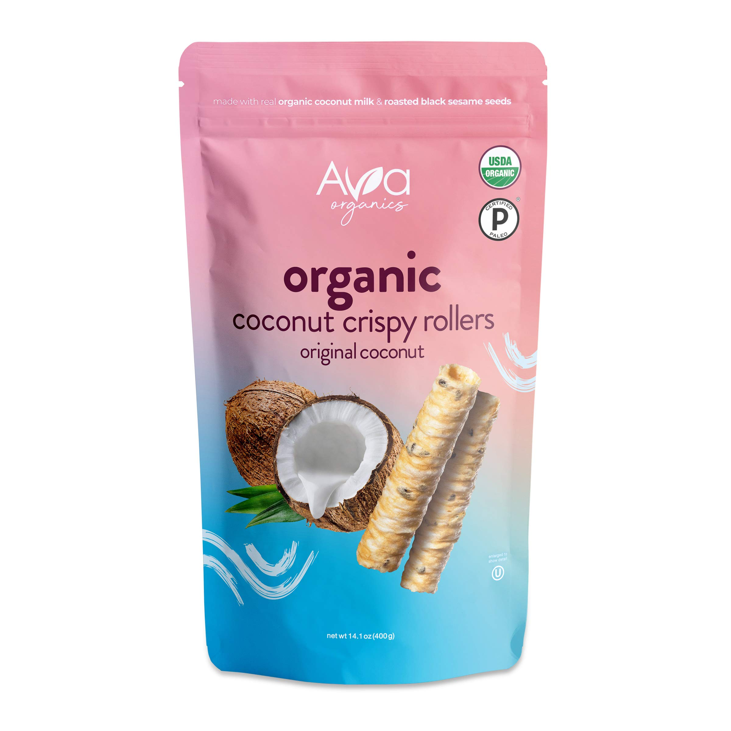 Ava Organics - Coconut Crispy Rollers - Original Coconut (Family Size 14 oz bag)