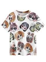 Romwe Women's Casual Funny Figure Print Short Sleeve Summer Cotton Tops Tee Tshirt