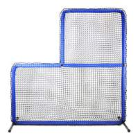 """JUGS Protector Blue Series L-Shaped Pitchers Screen —Baseball Pitcher andPitching Machine Protection, 7'H x 7'Wwith a 3' x 3' cutout, 60 Ply Poly-E Netting and 1.5"""" Diameter Frame,1-Year Guarantee"""