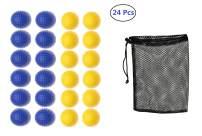 Fanovo Foam Golf Balls - Practice Golf Balls - Kid Golf Balls - Pet Balls, Light Soft Elastic Training Multifunction Sport Balls (Blue + Yellow - 24 Pack)
