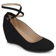 Journee Collection Womens Faux Suede Ankle Strap Covered Wedges