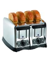 Proctor Silex Commercial 4 Slice Extra-Wide Slot Commercial Toaster, Chrome, 120 Volts (24850), Silver