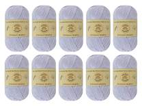 Yonkey Monkey Skein Tencel Yarn - 70% Bamboo, 30% Cotton - Softest Quality Crocheting, Knitting Supplies - Lightweight and Breathable Fabric Threads - 10-Pack Set, 210 Meters (White Gray 9006)