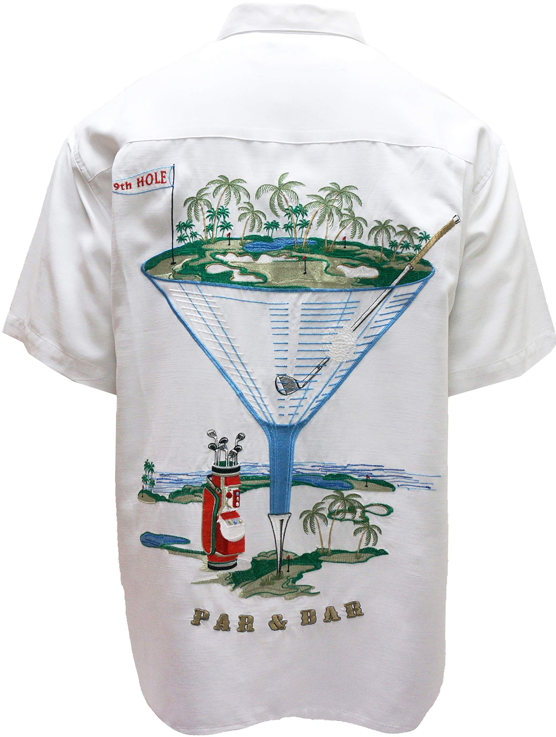 Bamboo Cay Men's Embroidered Golf Martini Design Camp Shirt Short Sleeve Button Down Shirt