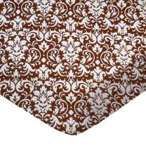 SheetWorld Fitted Portable / Mini Crib Sheet - Brown Damask - Made In USA
