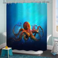 """MitoVilla Ocean Animal Octopus Shower Curtain, Aquatic Wildlife Kraken Tentacle Artwork Bathroom Accessories for Sea Themed Home Decor, Octopus Gifts for Mens and Kids Boys, Blue, 72"""" W x 78"""" L"""