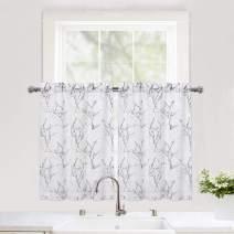 "Haperlare Semi-Sheer Tier Curtains for Kitchen Windows, Tree Branches Pattern Café Curtains Elegant Flower Twig Design Half Window Curtain Set for Bathroom, 27"" W x 24"" L, Black/Grey, Set of 2"
