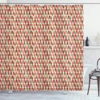 "Ambesonne Geometric Shower Curtain, Teardrop Shapes Pattern with Colorful Motifs Arrangement in Retro Modern Style, Cloth Fabric Bathroom Decor Set with Hooks, 75"" Long, Orange Khaki"