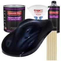 Restoration Shop - Dark Midnight Blue Pearl Acrylic Urethane Auto Paint - Complete Gallon Paint Kit - Professional Single Stage High Gloss Automotive, Car, Truck Coating, 4:1 Mix Ratio, 2.8 VOC