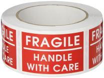 """TapeCase - SHIPLBL-036 Shipping Packing Labels""""Fragile/Handle with Care"""", Red/White - 500 per Pack (1 Pack) Fragile Handle With Care"""