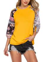 Mofavor Women's Floral Printed Crew Neck T-Shirt Casual Half Sleeve Patchwork Tunic Tops
