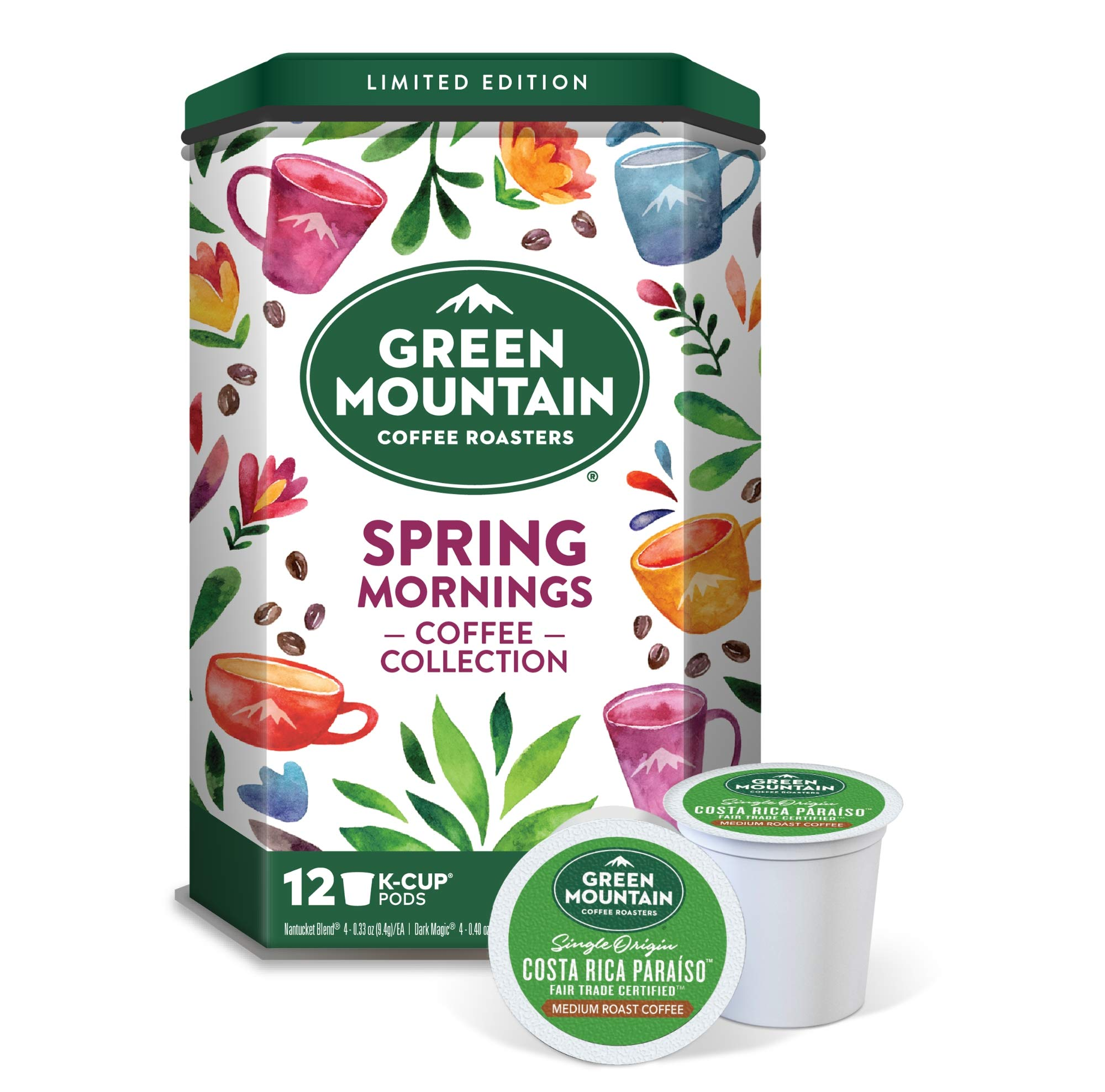 Green Mountain Coffee Roasters Spring Mornings Coffee Collectible Tin, Single Serve Keurig K-Cup Pods, Variety Pack Gift Set, 12 Count