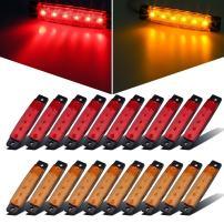 "Partsam 20x 3.8 Amber/Red Lights Truck Trailer RV Lorry Van Side Marker Indicators Decorative, Thin Line 3.8"" 6 LED Amber Trailer Marker Lights Parking Turn Signal Lights"