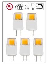 CBconcept UL Listed, G4 LED Light Bulb, 5 Pack, Epistar COB 1.7 Watt, Dimmable, 220 Lumen, Pure White 6000K, 360 degree Beam Angle, 12 Volt, 20W Equivalent, G4 Bi Pin Base Halogen Replacement Bulb