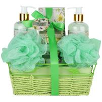 Bath and Body Spa Gift Basket For Women-Teens, Gift Set Bath And Body Works- Natural Magnolia-Tuberos Aromatherapy Spa Gift Basket Includes Shower Gel, Bubble Bath, Body Lotion, Bath Salt and a Puff