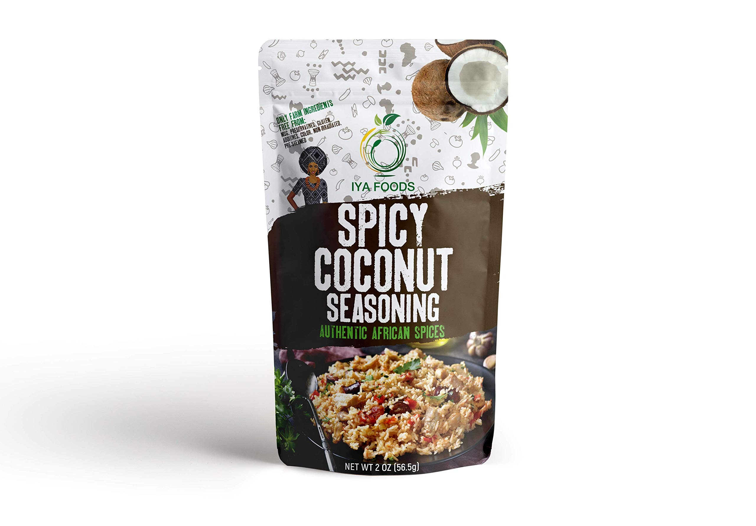 Iya Foods Spicy Coconut Seasoning 5 oz Bag Made with Real Coconuts, Herbs & Peppers. Free from MSG or Anything Artificial. Delicious, Authentic Burst of Coconutty Goodness, Top Seller.