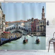 """Ambesonne Italy Shower Curtain, Famous Landscape of Venice Gondolas and Architecture Europe Tourism Canal Photo, Cloth Fabric Bathroom Decor Set with Hooks, 70"""" Long, Blue Beige"""
