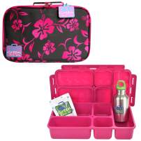 Go Green Lunch Box Set • 5 Compartment Leak-Proof Lunch Box • Insulated Carrying Bag • Beverage Bottle • Gel Freezer Pack (Aloha)