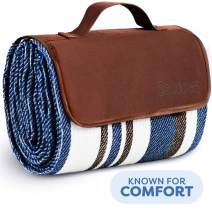 Extra Large Picnic & Outdoor Blanket Dual Layers for Outdoor Water-Resistant Handy Mat Tote Spring Summer Blue and White Striped Great for The Beach,Camping on Grass Waterproof Sandproof (SC-CM-01)