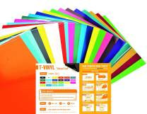 """T-VINYL PU Heat Transfer Vinyl Sheets Bundle for DIY T- Shirts : 10""""×12"""" - 22 Pack of 22 Assorted Colors (16 Most Popular Colors, 4 Neon Colors and 2 Pastel Colors Included) – Best Iron On HTV Vinyl"""