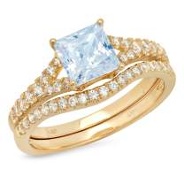 2.01ct Princess Cut Pave Solitaire Accent Aquamarine Blue Simulated Diamond CZ Engagement Promise Statement Anniversary Bridal Wedding Ring Band set Curved Real Solid 14k Yellow Gold
